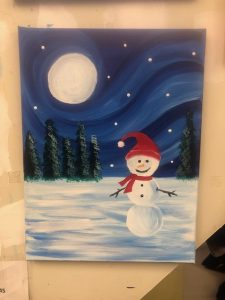 Snowman and Moon Painting - For Classes and Parties at the Art Station, The Art, Party, and Framing Place