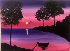 Purple and Pink Sunset with Boat Painting - For Classes and Parties at the Art Station, The Art, Party, and Framing Place