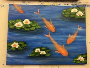 Koi Goldfish Painting - For Classes and Parties at the Art Station, The Art, Party, and Framing Place