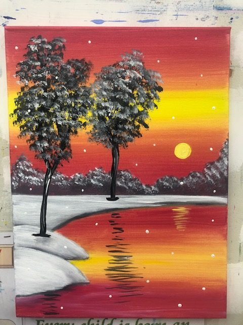 Snowy Sunset Painting - For Classes and Parties at the Art Station, The Art, Party, and Framing Place