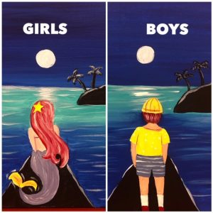 Mermaid and Fisher Boy Paintings - For Classes and Parties at the Art Station, The Art, Party, and Framing Place