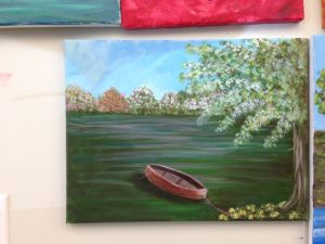 Row Boat in Green Water Painting - For Classes and Parties at the Art Station, The Art, Party, and Framing Place