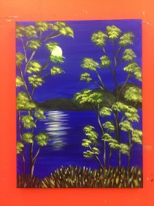 Trees at Night in Ultramarine Painting - For Classes and Parties at the Art Station, The Art, Party, and Framing Place