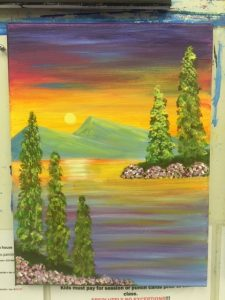 Pine Tree and Sunset Painting - For Classes and Parties at the Art Station, The Art, Party, and Framing Place