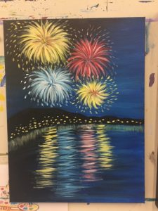 Fireworks over Water Painting - For Classes and Parties at the Art Station, The Art, Party, and Framing Place