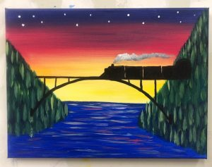 Train on Bridge Painting - For Classes and Parties at the Art Station, The Art, Party, and Framing Place
