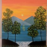 Sunset and Waterfall with Mountains and Trees - For Classes and Parties at the Art Station, , The Art, Party, and Framing Place