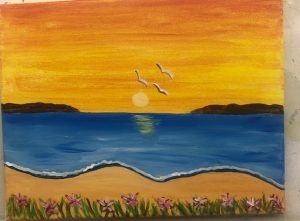 Beach Sunset with Seaguls Painting - For Classes and Parties at the Art Station, , The Art, Party, and Framing Place