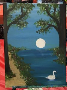 Swan and Moon Painting - For Classes and Parties at the Art Station, , The Art, Party, and Framing Place