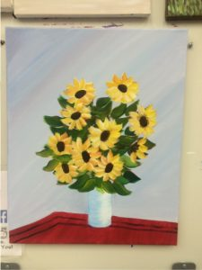Yellow Flowers in Vase Painting - For Classes and Parties at the Art Station, , The Art, Party, and Framing Place