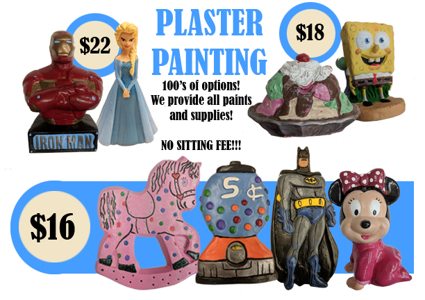 Plaster Painting - Starting at $16 - at the Art Station, The Art, Party, and Framing Place