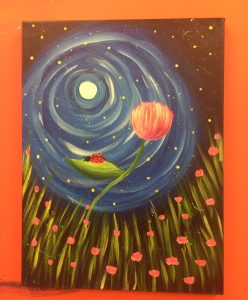Ladybug on Flower in Moonlight Painting - For Classes and Parties at the Art Station, , The Art, Party, and Framing Place