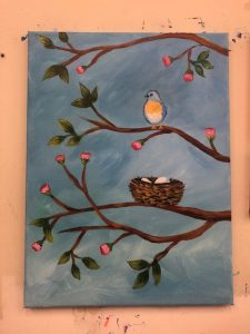 Bird with Nest on Budding Tree Painting - For Classes and Parties at the Art Station, , The Art, Party, and Framing Place