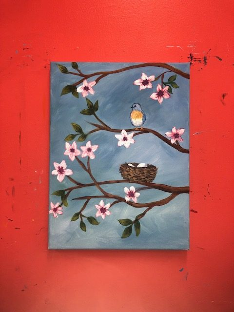 Bird with Nest on Flowering Tree Painting - For Classes and Parties at the Art Station, , The Art, Party, and Framing Place