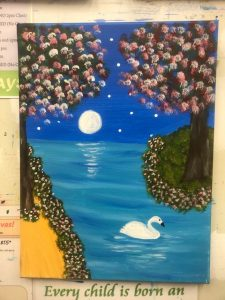 Swan on River with Moon and Trees Painting - For Classes and Parties at the Art Station, , The Art, Party, and Framing Place