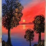 Neon Silhouette Tree Sunset Painting - For Classes and Parties at the Art Station, , The Art, Party, and Framing Place