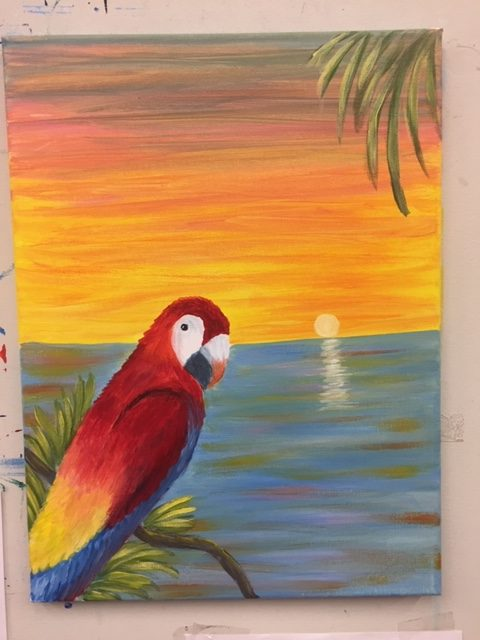 Parrot on Beach Painting - For Classes and Parties at the Art Station, , The Art, Party, and Framing Place