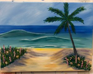 Beach Painting with Palm Tree and Flowers Painting - For Classes and Parties at the Art Station, , The Art, Party, and Framing Place