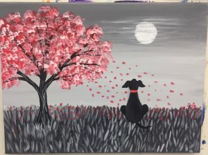 Black and White Dog with Red Tree Painting - For Classes and Parties at the Art Station, , The Art, Party, and Framing Place