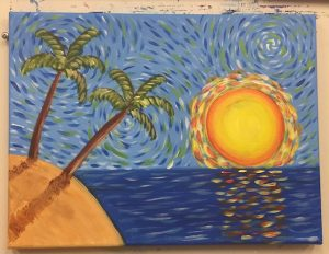 Van Gogh Beach Sunset Palm Tree Painting - For Classes and Parties at the Art Station, , The Art, Party, and Framing Place