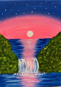 Pink Sunset with Waterfall Painting - For Classes and Parties at the Art Station, , The Art, Party, and Framing Place