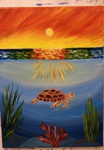 Turtle in Water with Sunset Painting - For Classes and Parties at the Art Station, , The Art, Party, and Framing Place