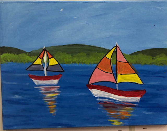 Sail Boat Painting 2 - For Classes and Parties at the Art Station, , The Art, Party, and Framing Place