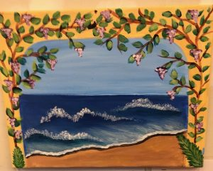 Ivy around Beach with Waves Painting - For Classes and Parties at the Art Station, , The Art, Party, and Framing Place