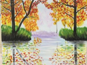 Fall Trees Reflected in Water Painting - For Classes and Parties at the Art Station, , The Art, Party, and Framing Place