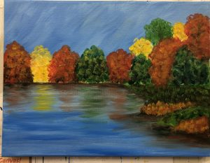 Fall Trees by River Painting - For Classes and Parties at the Art Station, , The Art, Party, and Framing Place