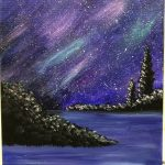 Night Sky with Aurora Borealis Painting - For Classes and Parties at the Art Station, , The Art, Party, and Framing Place