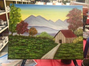 Cabin with Grey Mountain Painting - For Classes and Parties at the Art Station, , The Art, Party, and Framing Place