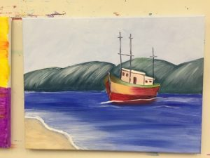 Boat by Shore Painting - For Classes and Parties at the Art Station