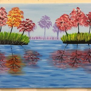 Pastel Trees and Water Reflection Painting - For Classes and Parties at the Art Station