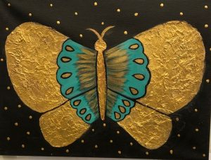 Gold Butterfly Collage and Painting - For Classes and Parties at the Art Station