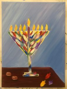 Colorful Menorah Painting - For Classes and Parties at the Art Station