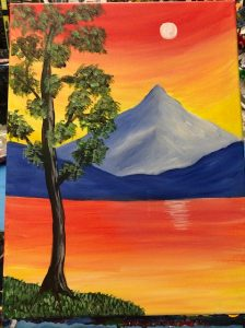 Blu Mountain Red Sky Painting Example - For Classes and Parties at the Art Station