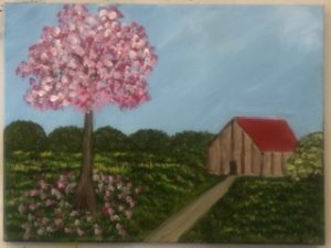 Cabin and Pink Tree Painting Example - For Classes and Parties at the Art Station