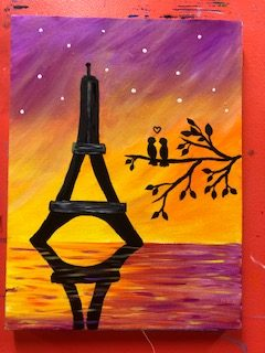 Eiffel Tower Painting Example - For Classes and Parties at the Art Station