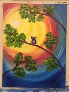 Owl Painting Example - For Classes and Parties