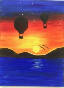 Hot Air Balloon Painting Example - For Classes and Parties