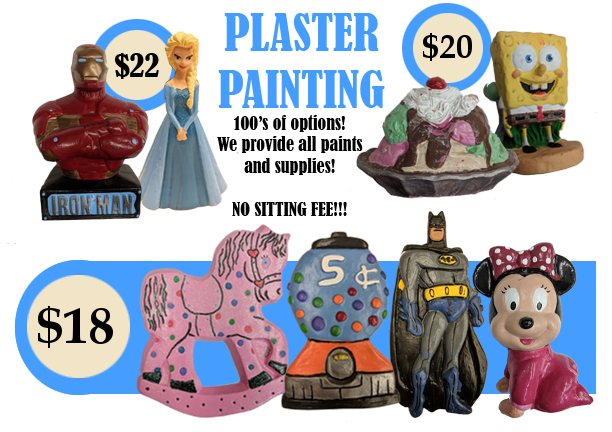 Plaster Painting at the Art Station - $18, $20, and $22